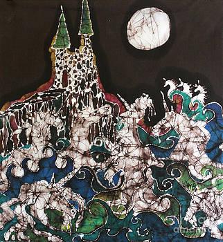 Unicorn in Sea Below Castle by Carol Law Conklin