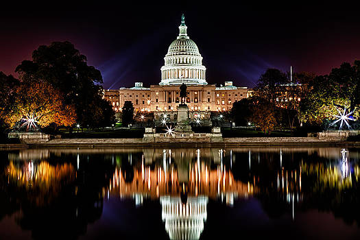 Val Black Russian Tourchin - US Capitol Building and Reflecting Pool at Fall Night 2
