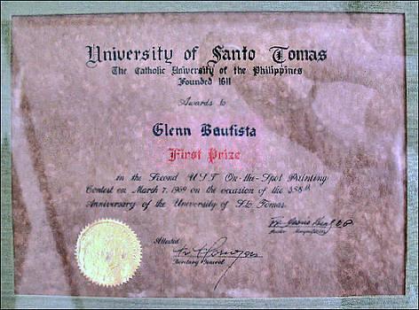 Glenn Bautista - UST 1969 Certificate of Merit