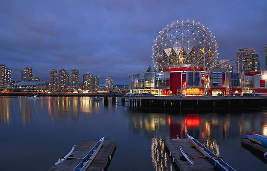 Vancouver Science World at night by Marlene Ford