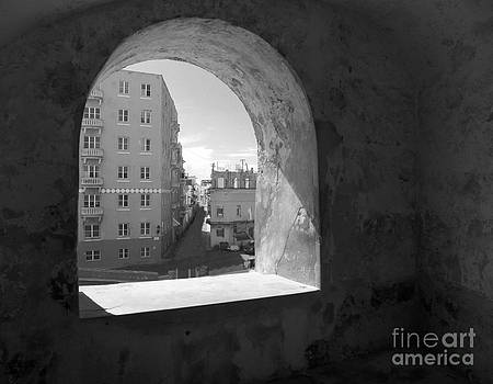 View of Old San Juan from San Cristobal Black and White by Melanie Snipes