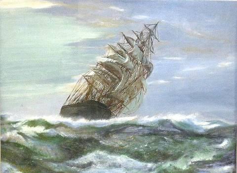 Violent Sea -oil painting by Rejeena Niaz