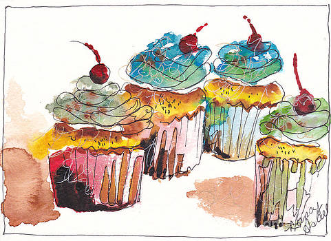 Watercolor Cupcake 9 by Michele Hollister - for Nancy Asbell