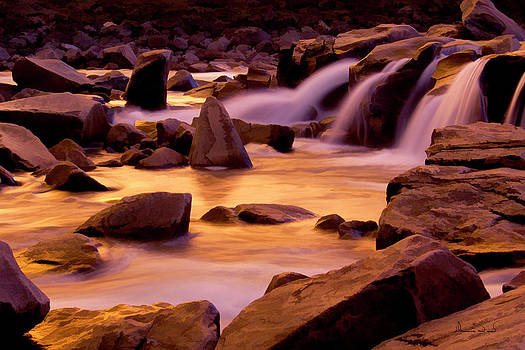 Waterfalls and Rapids at Sunset by Dennis Fast