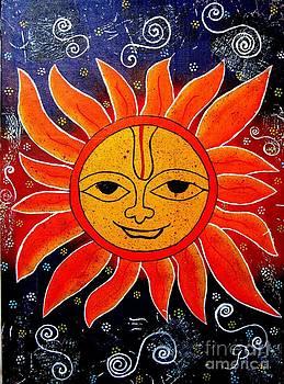 Whimsical Painting-Whimsical Sun God by Priyanka Rastogi