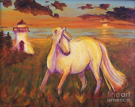 White Horse by Lighthouse by Suzanne  Marie Leclair