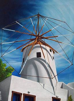 Windmill - Santorini by Joanna Marouli