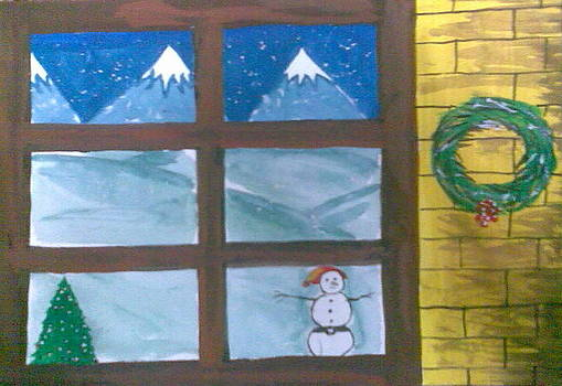 window pane in Winter during Christmas by Lalhmunlien Varte