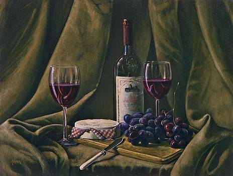 Wine with Grapes and Camembert by Brandon Kralik