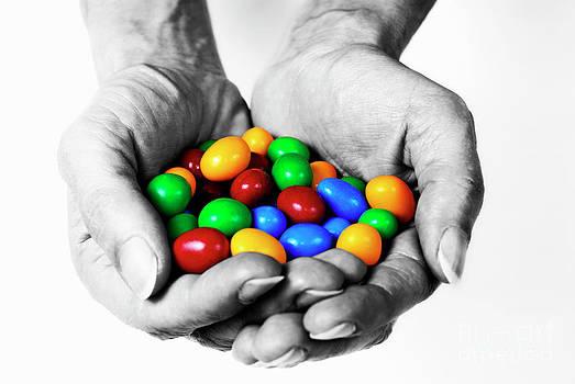 Sami Sarkis - Woman holding coloured chocolate eggs