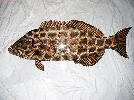 Wooden Black grouper number 3 by Lisa Ruggiero