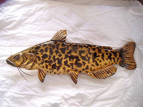 Wooden Brown Bullhead Catfish number four by Lisa Ruggiero