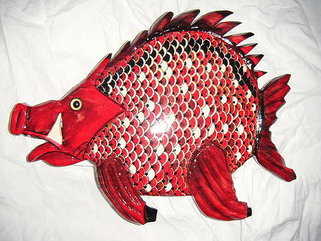 Wooden Hog Fish number four by Lisa Ruggiero