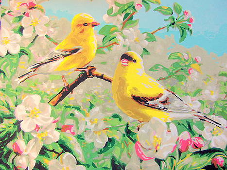 Yellow Chickidee with Blossoms by Amy Bradley