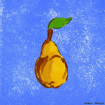 Yellow Pear on Blue by Marla Saville