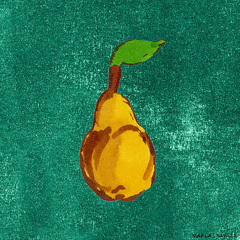 Yellow Pear on Green by Marla Saville