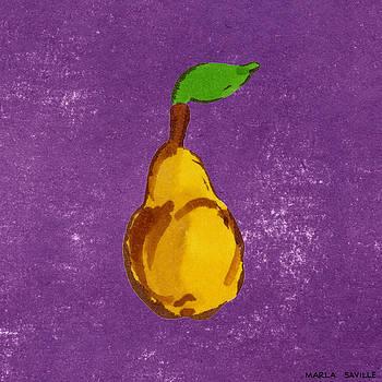 Yellow Pear on Purple by Marla Saville