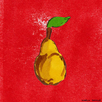Yellow Pear on Red by Marla Saville