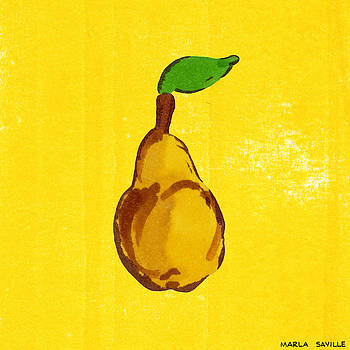 Yellow Pear on Yellow by Marla Saville