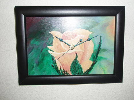 Yellow Rose Clock by Arlene Gibbs