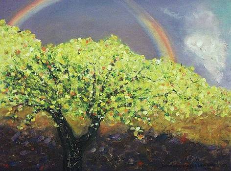 Suzanne  Marie Leclair - Yellow Tree and Purple Sky
