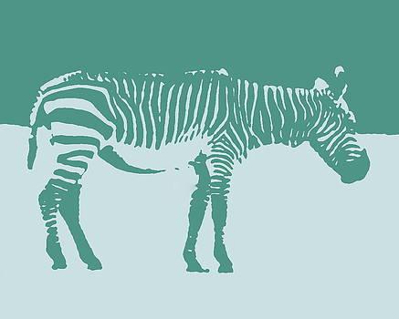 Ramona Johnston - Zebra Silhouette Teal Blue