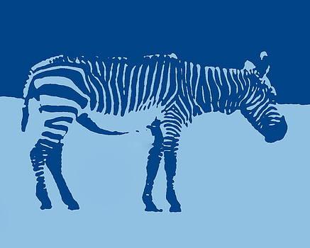 Ramona Johnston - Zebra Silhouette Turquoise Blue