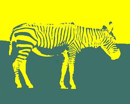 Ramona Johnston - Zebra Silhouette Yellow Aqua