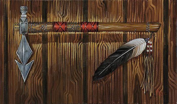 Red Handle Tomahawk Peacepipe by Geraldine Arata