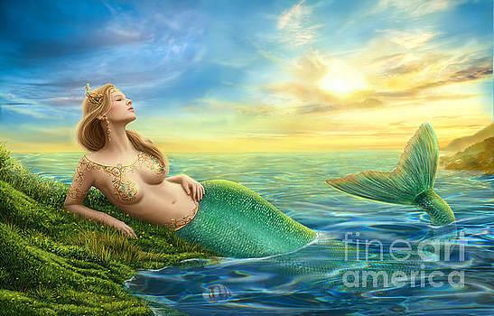 Beautiful princess- fantasy mermaid at sunset background by Alena Lazareva