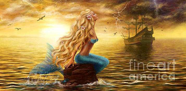 Beautiful princess Sea Mermaid with Ghost Ship at Sunset background by Alena Lazareva