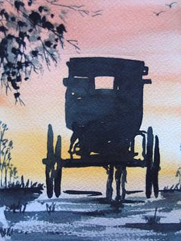 Horse and Carriage Silhouette by Smita Medpalliwar
