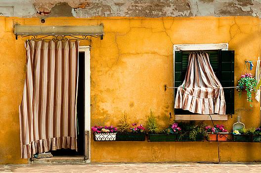 House With Drapes Burano Venice Italy by Xavier Cardell