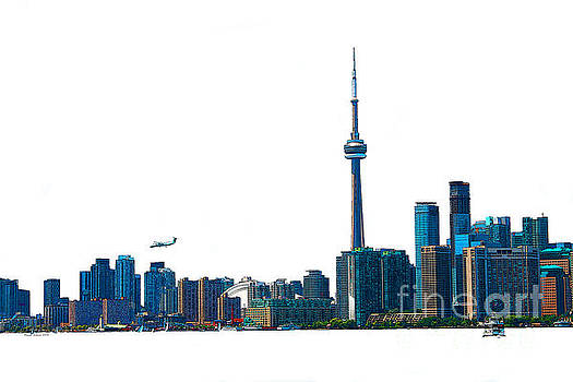 Toronto Harbourfront Skyline with Rogers Centre  Island Ferry and Plane by Nina Silver