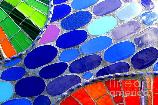 Mosaic Abstract Of The Blue Green Red Orange Stones by Michael Hoard