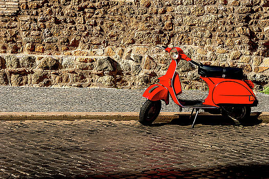 Red Scooter Rome Italy by Xavier Cardell
