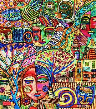-Talavera Harmony Cat Garden by Sandra Silberzweig