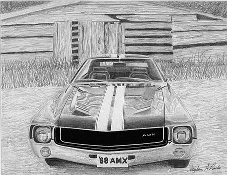 1968 AMC AMX Javelin MUSCLE CAR ART PRINT by Stephen Rooks