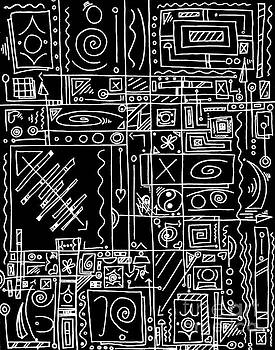 Abstract Black and White Symbolic Message Original Drawing Art by MADART by Megan Duncanson