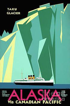 Alaska Vintage Travel Poster Restored by Carsten Reisinger