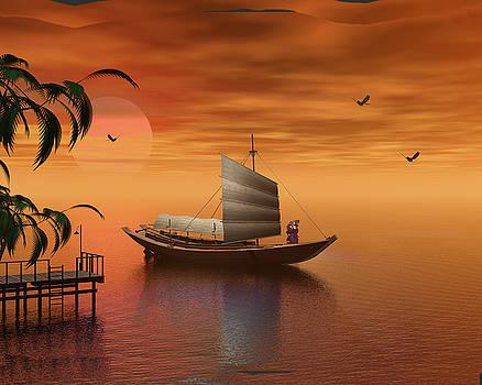 Asian Sunset Scene by John Junek