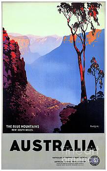 Australia Restored Vintage Travel Poster by Carsten Reisinger