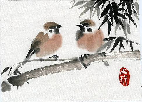 Bamboo and sparrow by Ping Yan
