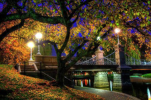 Boston Public Garden Lagoon Bridge in Autumn by Joann Vitali