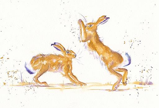 Boxing Hares by Debra Hall
