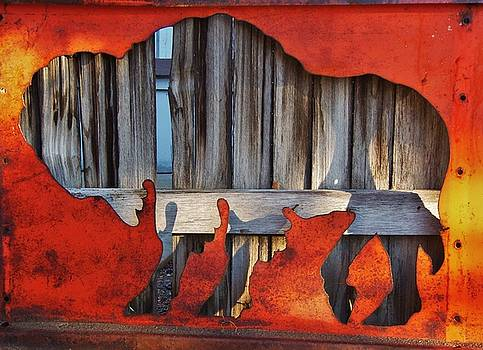 Wooden Buffalo 1 by Larry Campbell