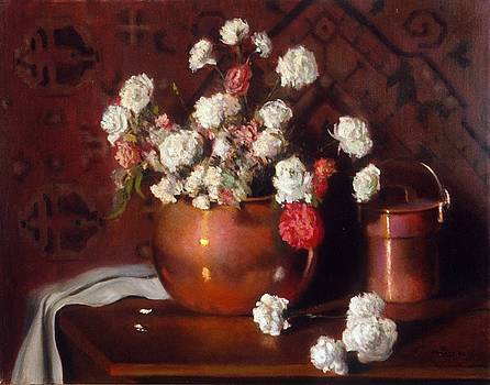 Carnations and Copper with Persian rug background by David Olander