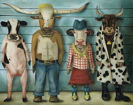 Cattle Line Up by Leah Saulnier The Painting Maniac