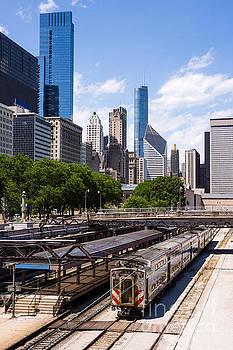 Paul Velgos - Chicago Skyline with Metra Train Station