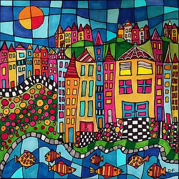 Colorful Village by Dora Ficher